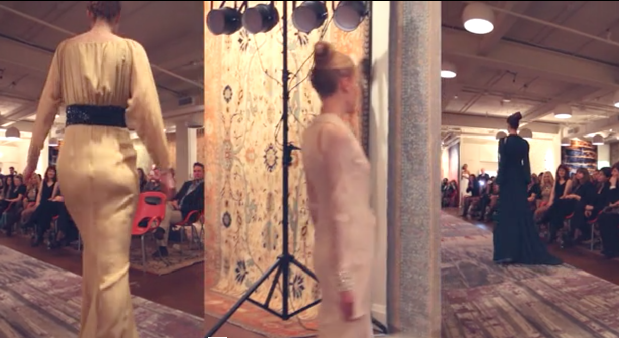 """Image of W STUDIO's carpets line the catwalk and walls of Alya Couture's first fashion show """"Couture with Heart"""" in support of Plan Canada's """"Because I am a Girl"""" initiative and in celebration of International Women's Day."""