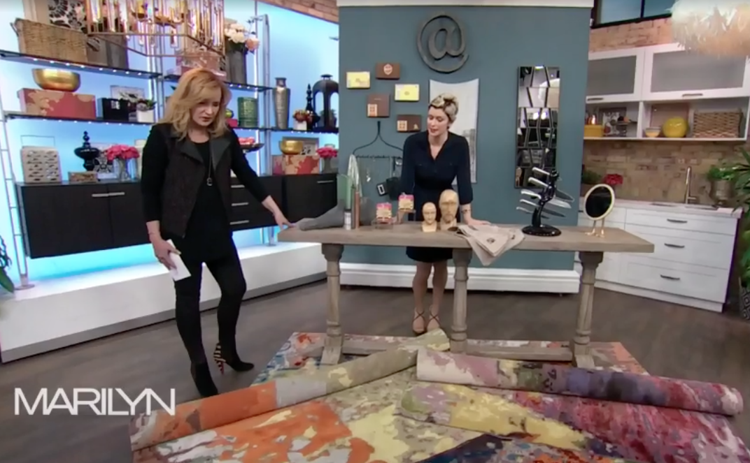 Image of W STUDIO carpets featured as a perfect floor and wall art on the Marilyn Denis Show.