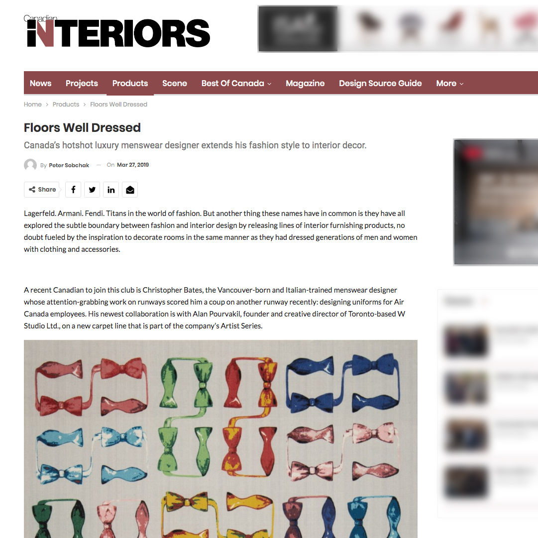 "Image of W STUDIO's collaboration with Christopher Bates is featured in an article by Peter Sobchak, ""Floors Well Dressed"", for the March/April 2019 Issue of Canadian Interiors."