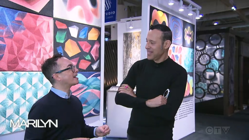 Image of Karim Rashid is interviewed by Tommy Smythe for the Marilyn Denis Show's coverage of IDS2019. 